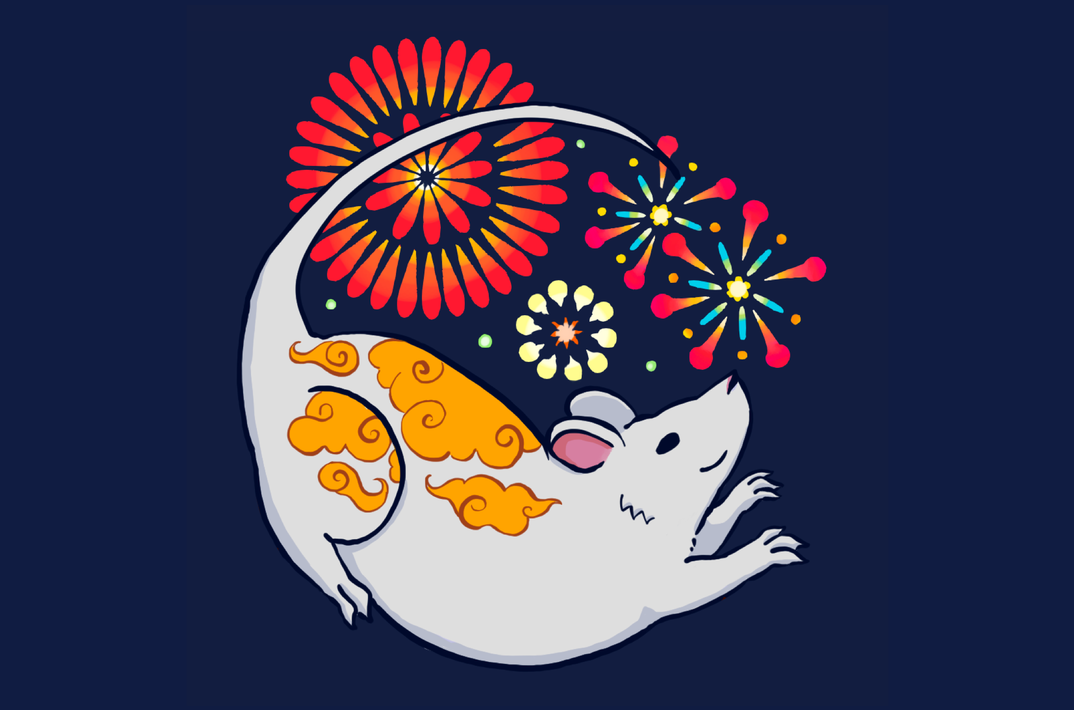 An illustration of a rat with fireworks.