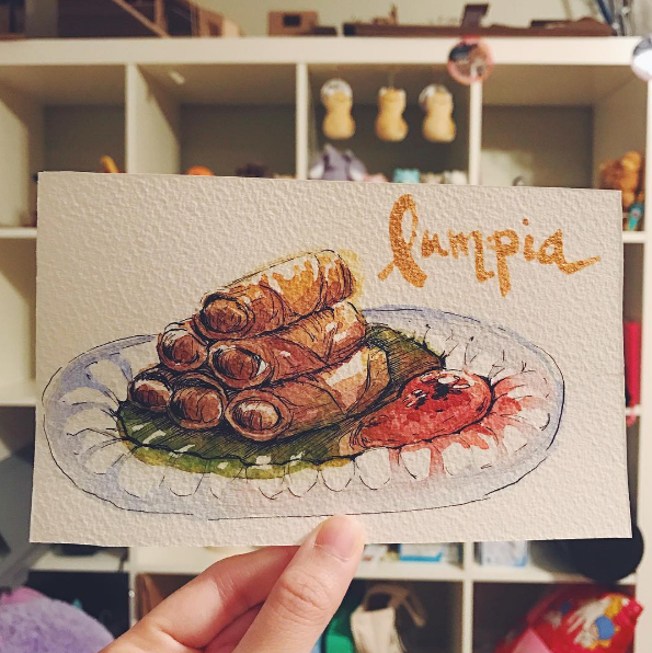 A watercolor picture of lumpia